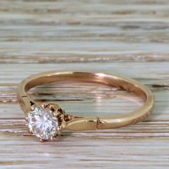 Mid Century 0.43 Carat Transitional Cut Diamond Rose Gold Engagement Ring