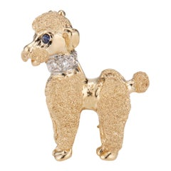 Mid-Century .05 Carat Diamond Blue Sapphire Yellow White Gold Poodle Brooch