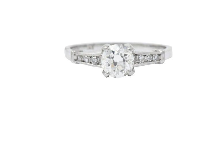 Retro Midcentury 0.95 Carat Diamond Platinum Engagement Ring For Sale