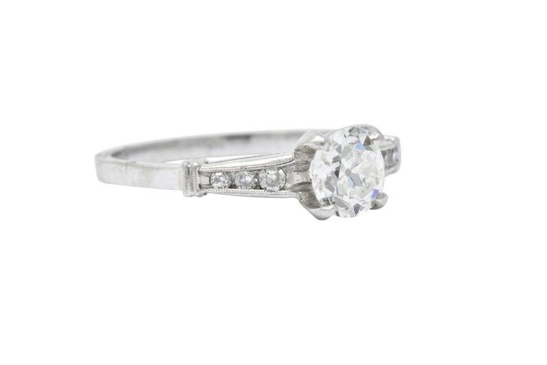 Old European Cut Midcentury 0.95 Carat Diamond Platinum Engagement Ring For Sale