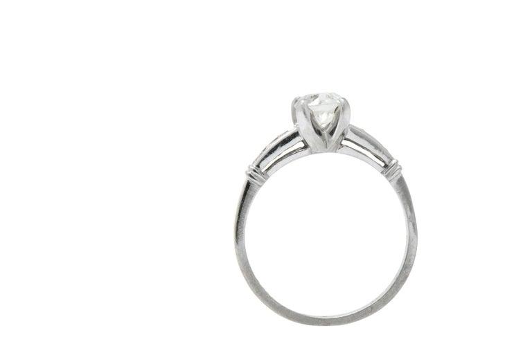 Women's or Men's Midcentury 0.95 Carat Diamond Platinum Engagement Ring For Sale