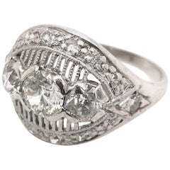 Midcentury 1.25 Carat Platinum Diamond Ring