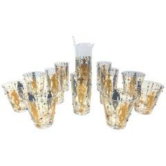 Mid Century 13-Piece Culver  Mardi Gras Harlequin 22 Karat Jeweled Glasses Set