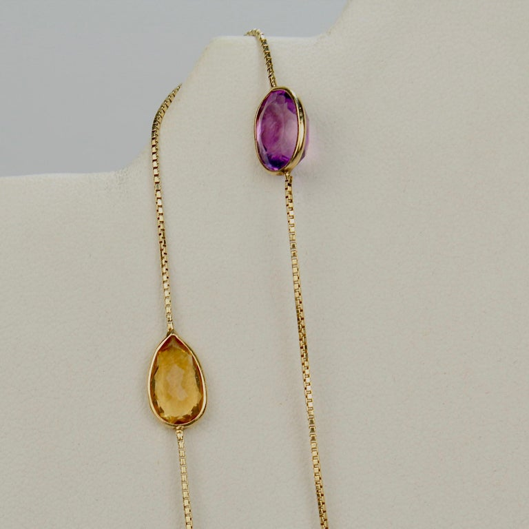 Midcentury 14 Karat Gold and Multi-Gemstone Rope Length Necklace In Good Condition For Sale In Philadelphia, PA