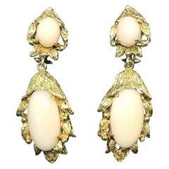 Mid Century 14 Karat Vintage Estate Angel Skin Coral Drop Dangle Earrings