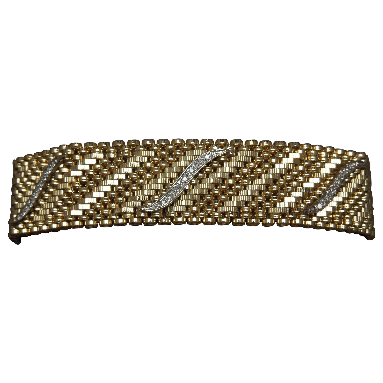 Midcentury 14 Karat Gold Mesh and Diamond Cocktail Bracelet