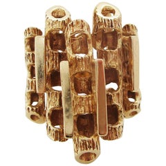 Midcentury 14 Karat Yellow Gold Falling Water Statement Fashion Dinner Ring