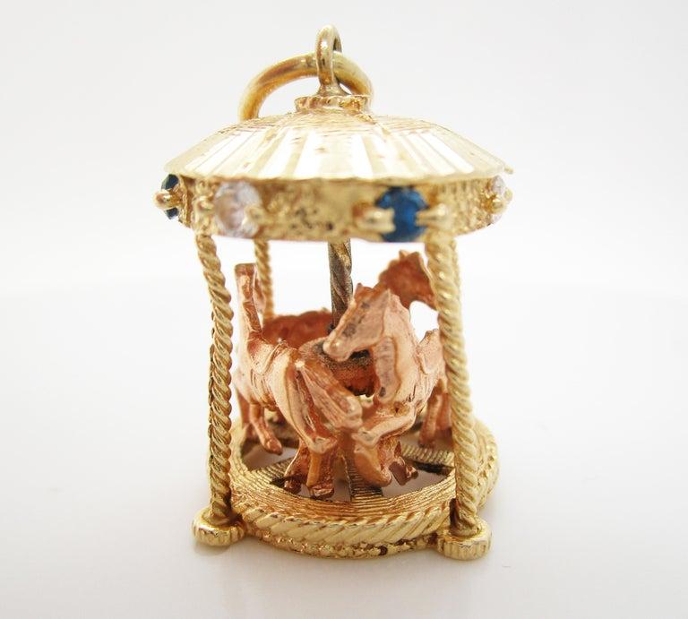 Women's or Men's Midcentury 14 Karat Yellow Gold Sapphire Diamond Movable Carousel Pendant For Sale