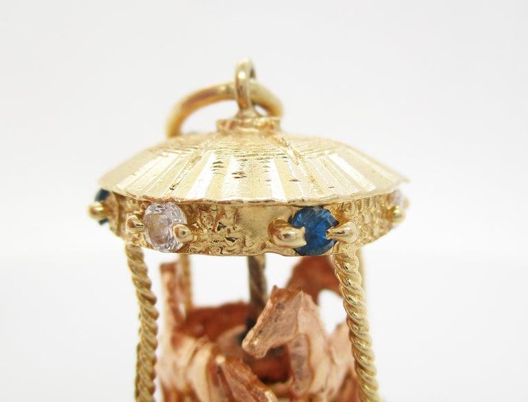 Midcentury 14 Karat Yellow Gold Sapphire Diamond Movable Carousel Pendant For Sale 1