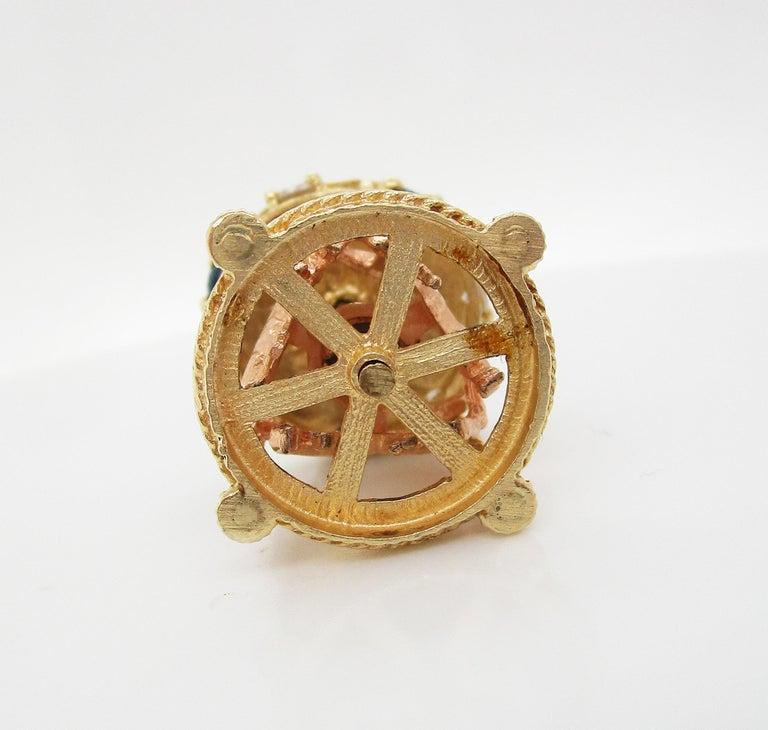 Midcentury 14 Karat Yellow Gold Sapphire Diamond Movable Carousel Pendant For Sale 3