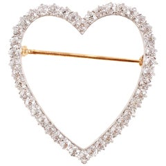 Mid Century 1.70 Carat Two-Tone Diamond Heart Brooch