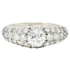 Mid-Century 1.70 Carats Diamond 14 Karat White Gold Pave Band Ring Bleicher