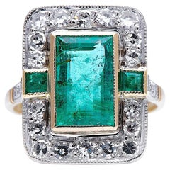 Midcentury, 18 Carat Gold, Emerald and Diamond Cluster Ring