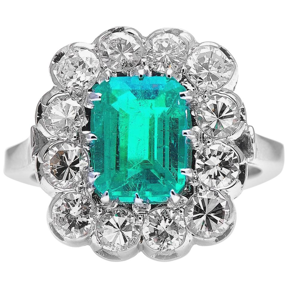 Midcentury, 18 Carat White Gold, Colombian Emerald and Diamond Cluster Ring