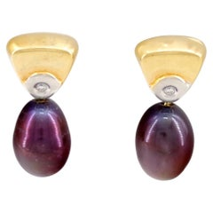 Aubergine Pearl Dangle Earrings from Denmark Are Mid-Century Classic in Gold