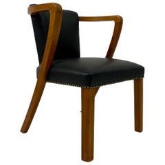 Mid Century 1950s Danish Desk Chair in Beech and Black Leather