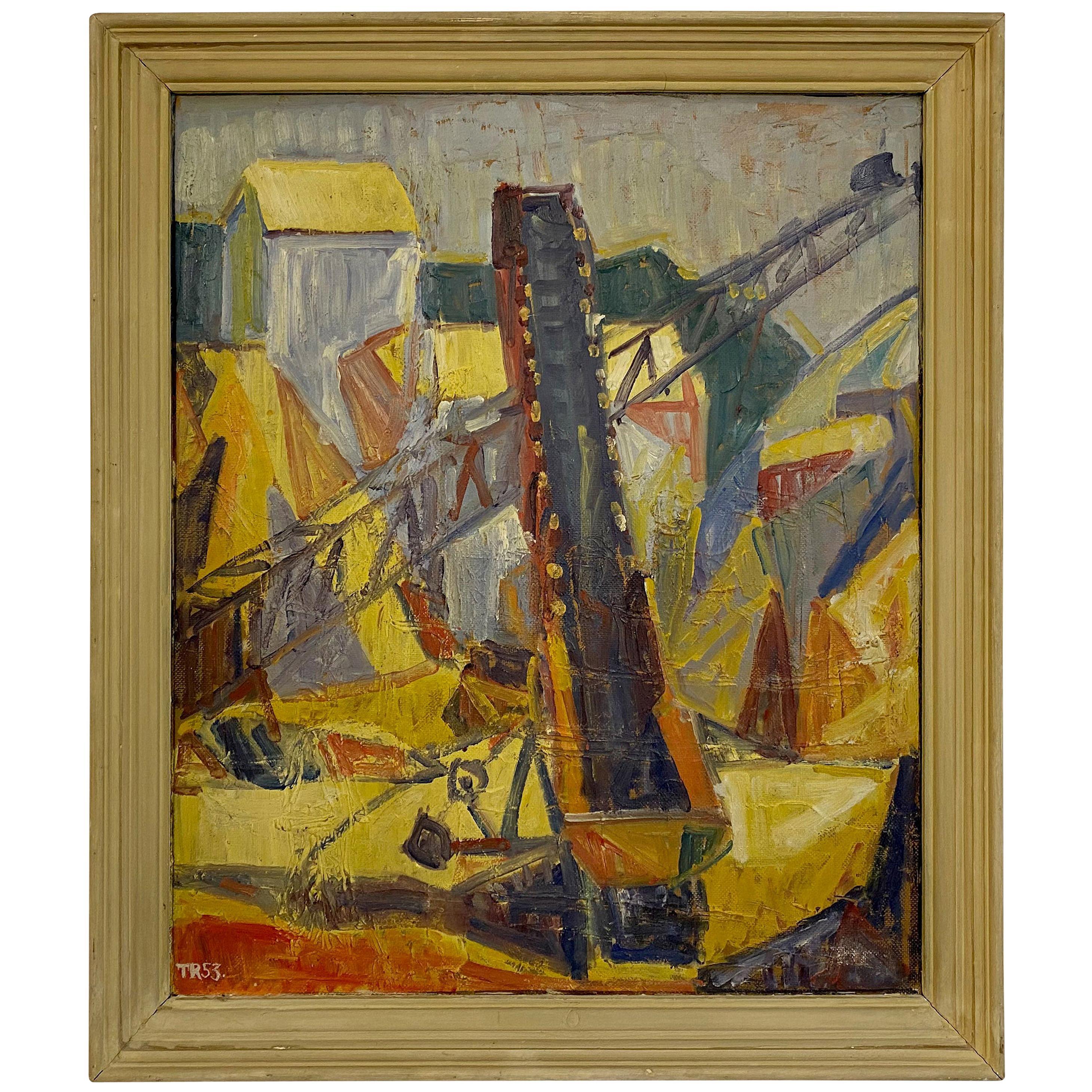 Midcentury 1950s Danish Oil Painting