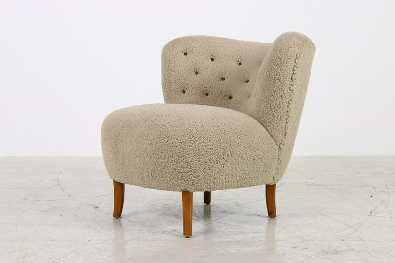 Mid-Century Modern Midcentury 1950s Gosta Jonsson Lounge Chair, Teddy Fur & Leather, Rare Vintage