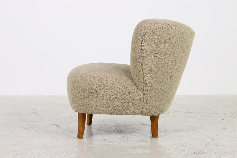 Swedish Midcentury 1950s Gosta Jonsson Lounge Chair, Teddy Fur & Leather, Rare Vintage