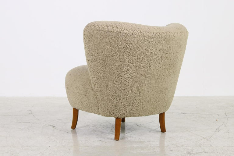 Midcentury 1950s Gosta Jonsson Lounge Chair, Teddy Fur & Leather, Rare Vintage In Good Condition In Hamminkeln, DE