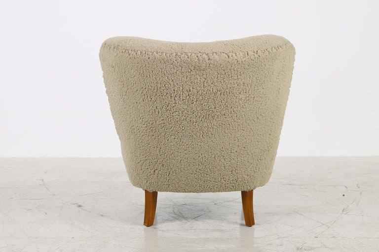 Mid-20th Century Midcentury 1950s Gosta Jonsson Lounge Chair, Teddy Fur & Leather, Rare Vintage