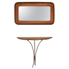 Midcentury 1950s Hammered Copper Console Table and Mirror by Angelo Bragalini