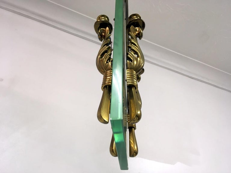 Midcentury 1950s Italian Brass and Glass Ceiling Light For Sale 5