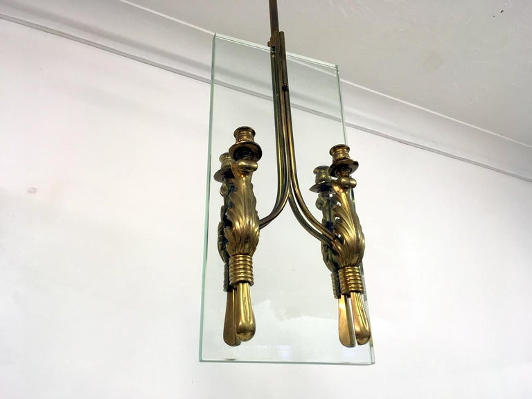 Midcentury 1950s Italian Brass and Glass Ceiling Light In Good Condition For Sale In London, London