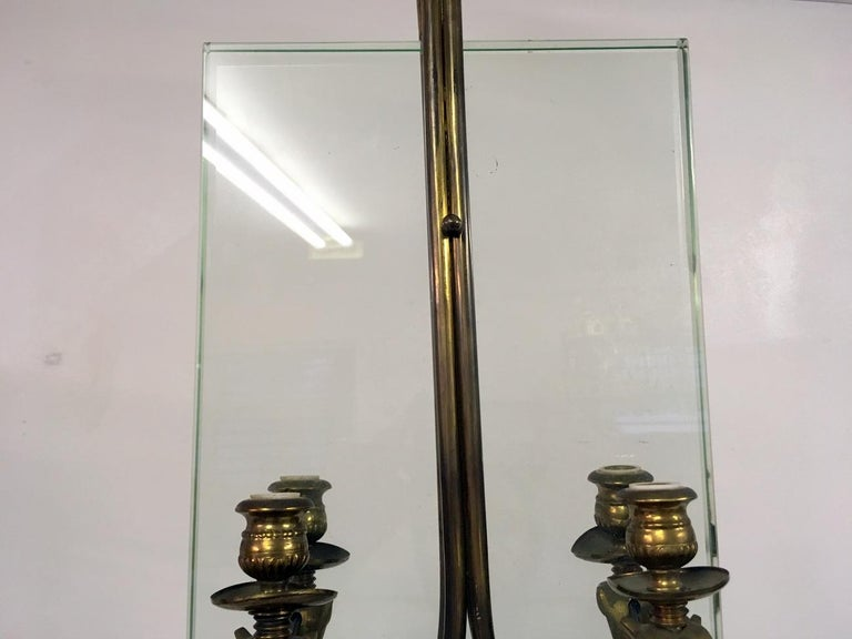 20th Century Midcentury 1950s Italian Brass and Glass Ceiling Light For Sale