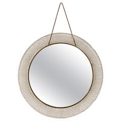 Midcentury 1950s Italian Circular Mesh Mirror