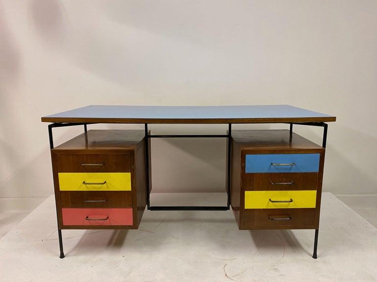 Mid-Century Modern Midcentury 1950s Italian Desk by Giuseppe Postiglione For Sale