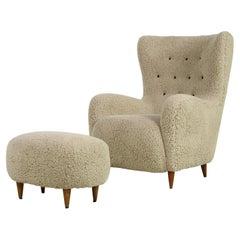 Mid Century 1950s Italian Lounge Chair & Stool Teddy Fur & Leather, Sheepskin