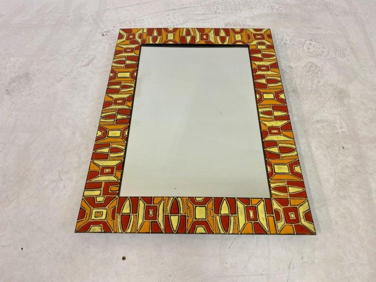 Mid-Century Modern Midcentury 1950s Italian Red Enameled Copper Mirror by Siva Poggibonsi For Sale
