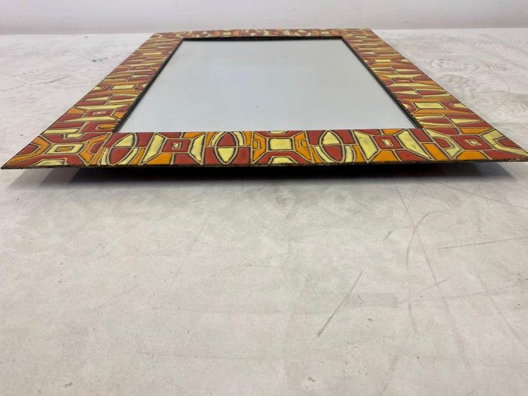 Metal Midcentury 1950s Italian Red Enameled Copper Mirror by Siva Poggibonsi For Sale