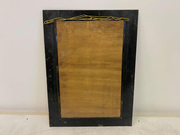 Midcentury 1950s Italian Red Enameled Copper Mirror by Siva Poggibonsi For Sale 1