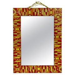 Midcentury 1950s Italian Red Enameled Copper Mirror by Siva Poggibonsi