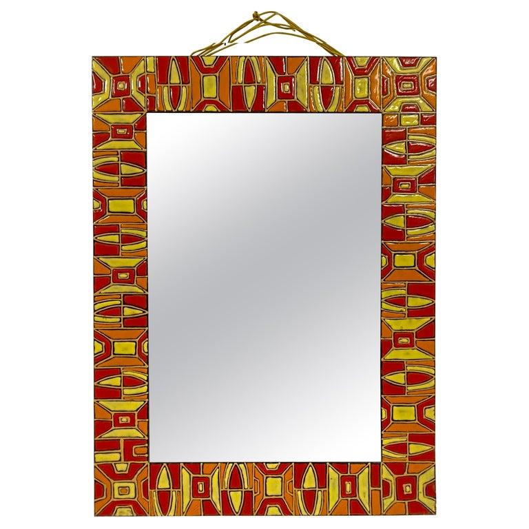 Midcentury 1950s Italian Red Enameled Copper Mirror by Siva Poggibonsi For Sale