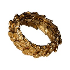 Midcentury 1950s Ny Marcel Boucher Gold Plated Peacock Feather Stretch Bracelet