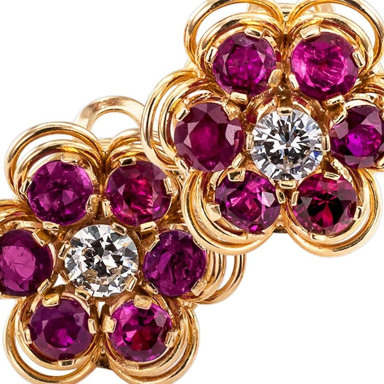 Midcentury 1950s Ruby Diamond Gold Ear Clips In Excellent Condition For Sale In Los Angeles, CA
