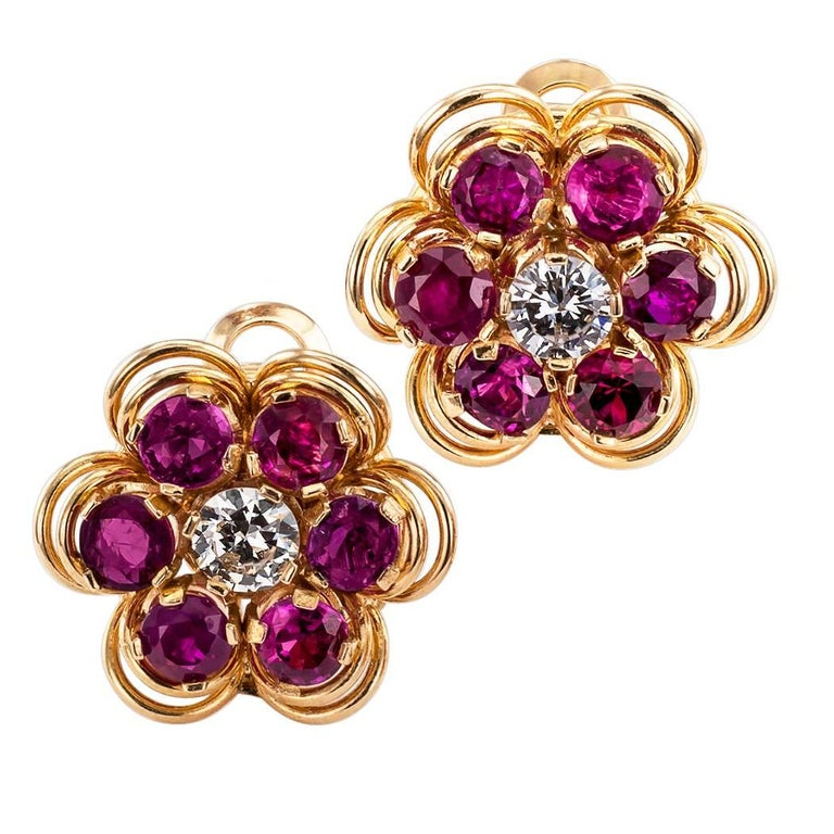 Midcentury 1950s Ruby Diamond Gold Ear Clips