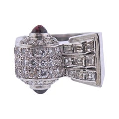 Mid Century 1950s Ruby Diamond Platinum Ring