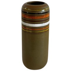 Midcentury 1960 Rosenthal Netter Striped Ceramic Vase for Bitossi, Italy