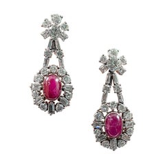 Mid-Century 1960s Cabochon Ruby Diamond Cluster Drop Earrings Platinum Portugal