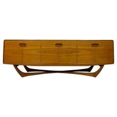 Mid Century 1960s Cross Base Teak Sideboard Crededenza by Beithcraft