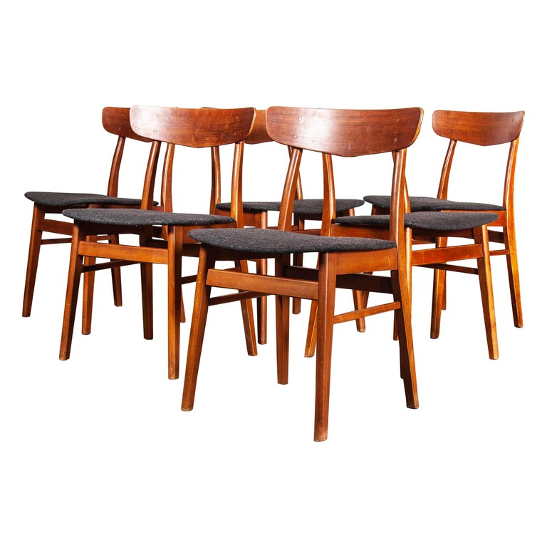 Midcentury 1960s Danish Upholstered Dining Chair In Teak Set Of Six At 1stdibs