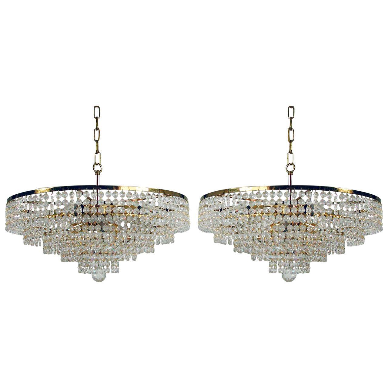 Midcentury 1960s Five-Tier Eight-Light Ernst Palme Crystal Glass Chandelier