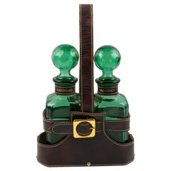 Mid-Century 1960s Leather Case Tantalus with Two Glass Decanters