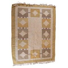 Mid Century 1960s Swedish Flat Weave Yellow and Blue Flecked Wool Rug