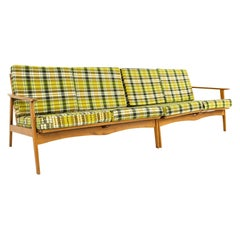 Mid Century 2 Piece Wood Framed Sectional Sofa with Green Plaid Cushions