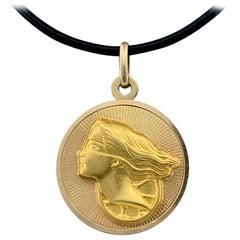 Midcentury Italian 2-Sided Medallion Charm with Aquarius & Dea della Fortuna